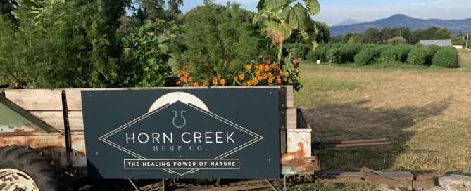 horn creek logo on trailer in hemp fields